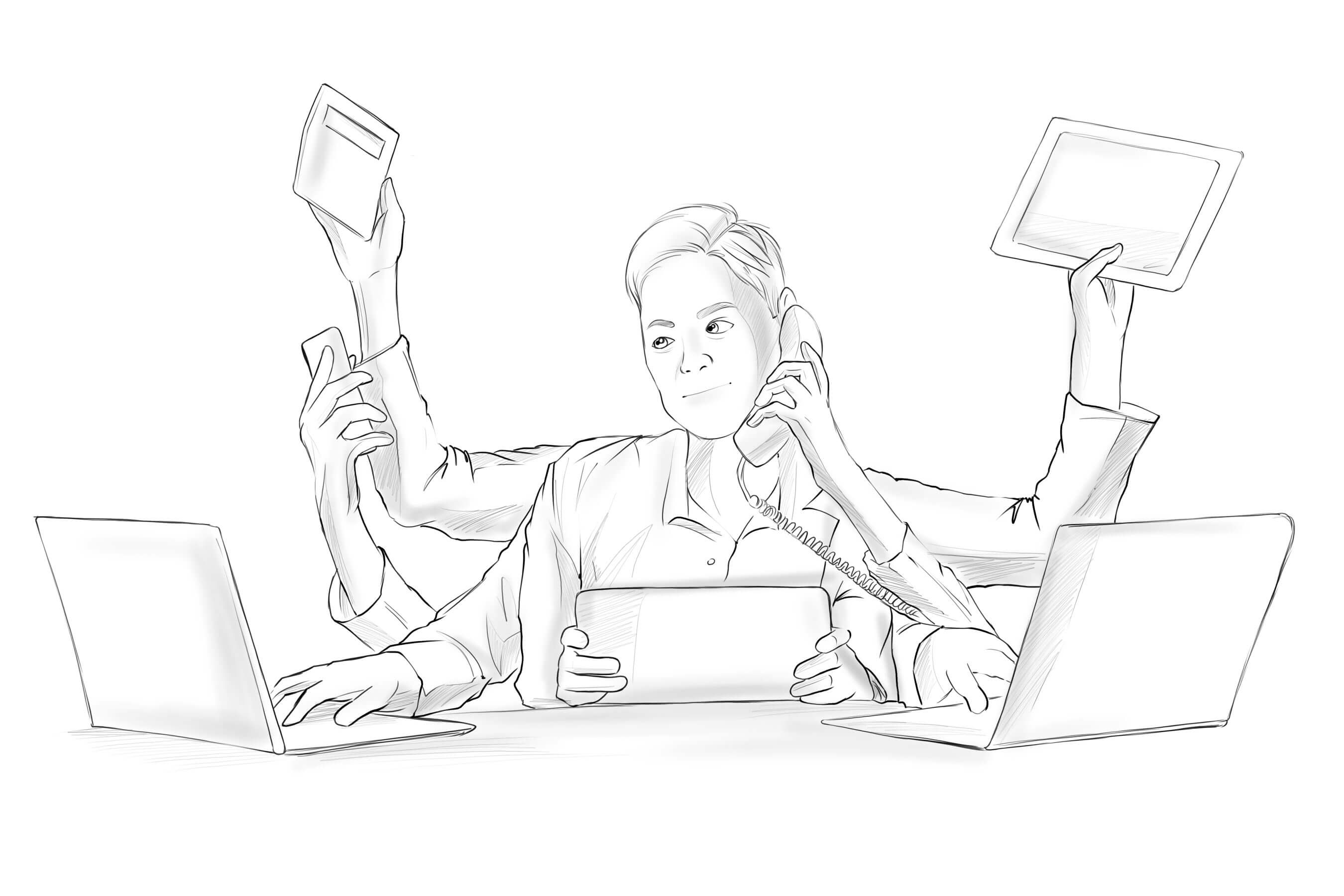 SMART PHONES, OTHER DEVICES, PERSON MULTITASKING AT WORK