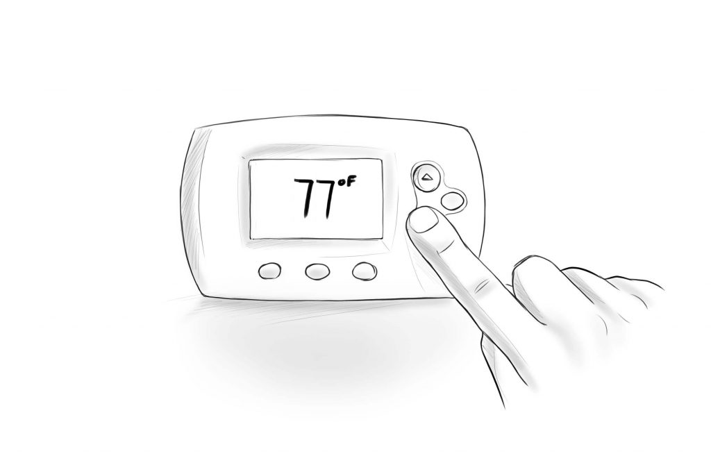 THERMOSTAT AT 77 DEGREES F