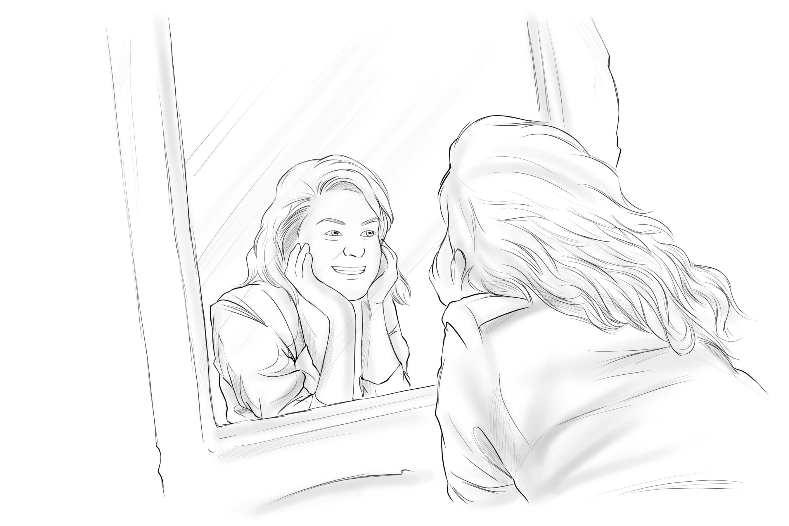 PERSON TALKING TO SELF POSITIVELY IN THE MIRROR