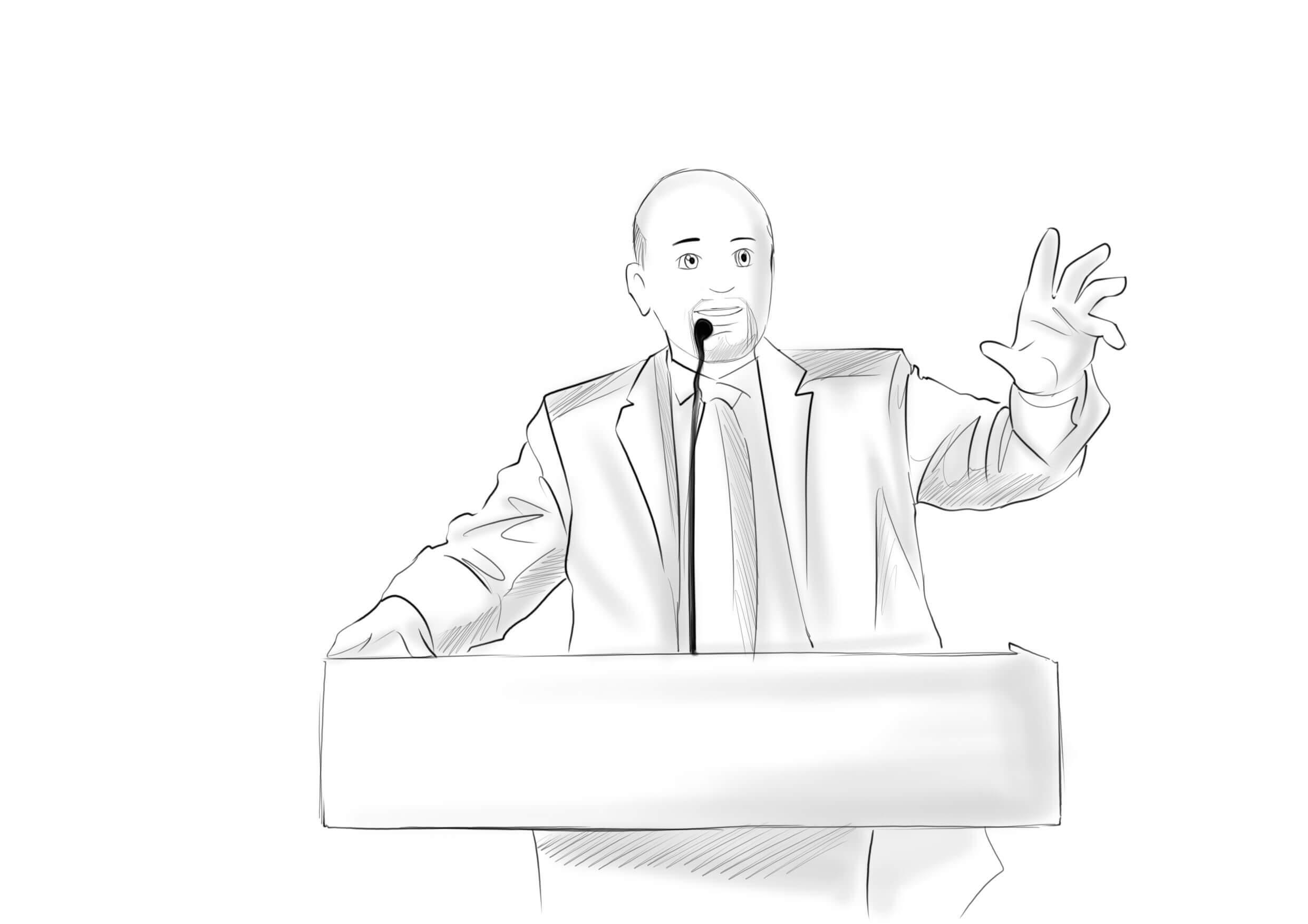 POLITICIAN SPEAKING AT A PODIUM