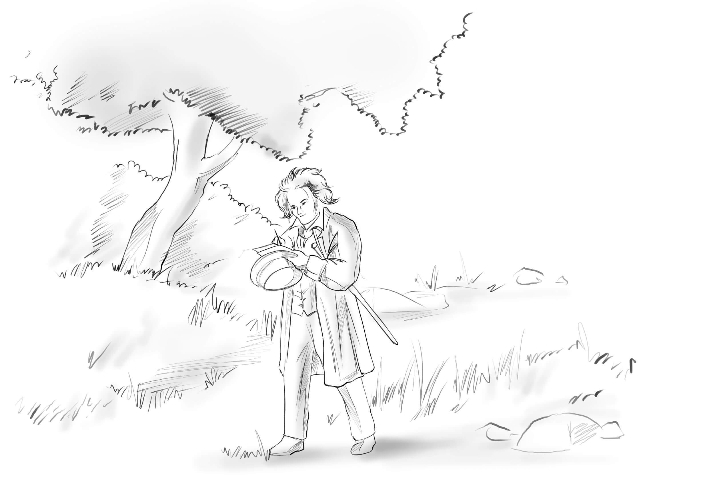 ALBERT EINSTEIN WALKING IN A PARK