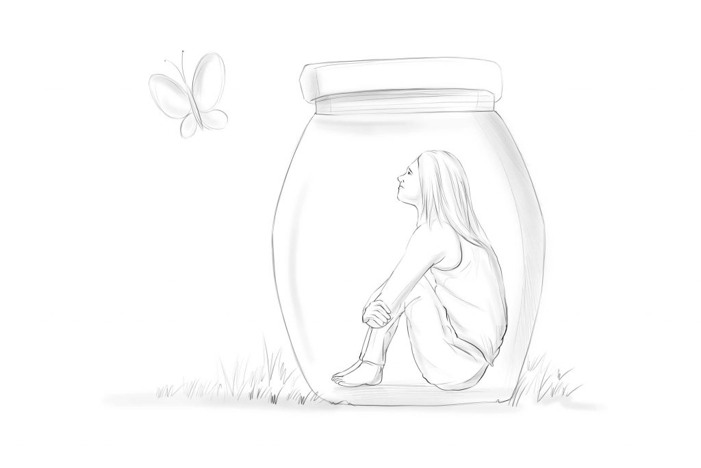 PERSON STUCK IN A JAR LOOKING AT A BUTTERFLY ON THE OUTSIDE