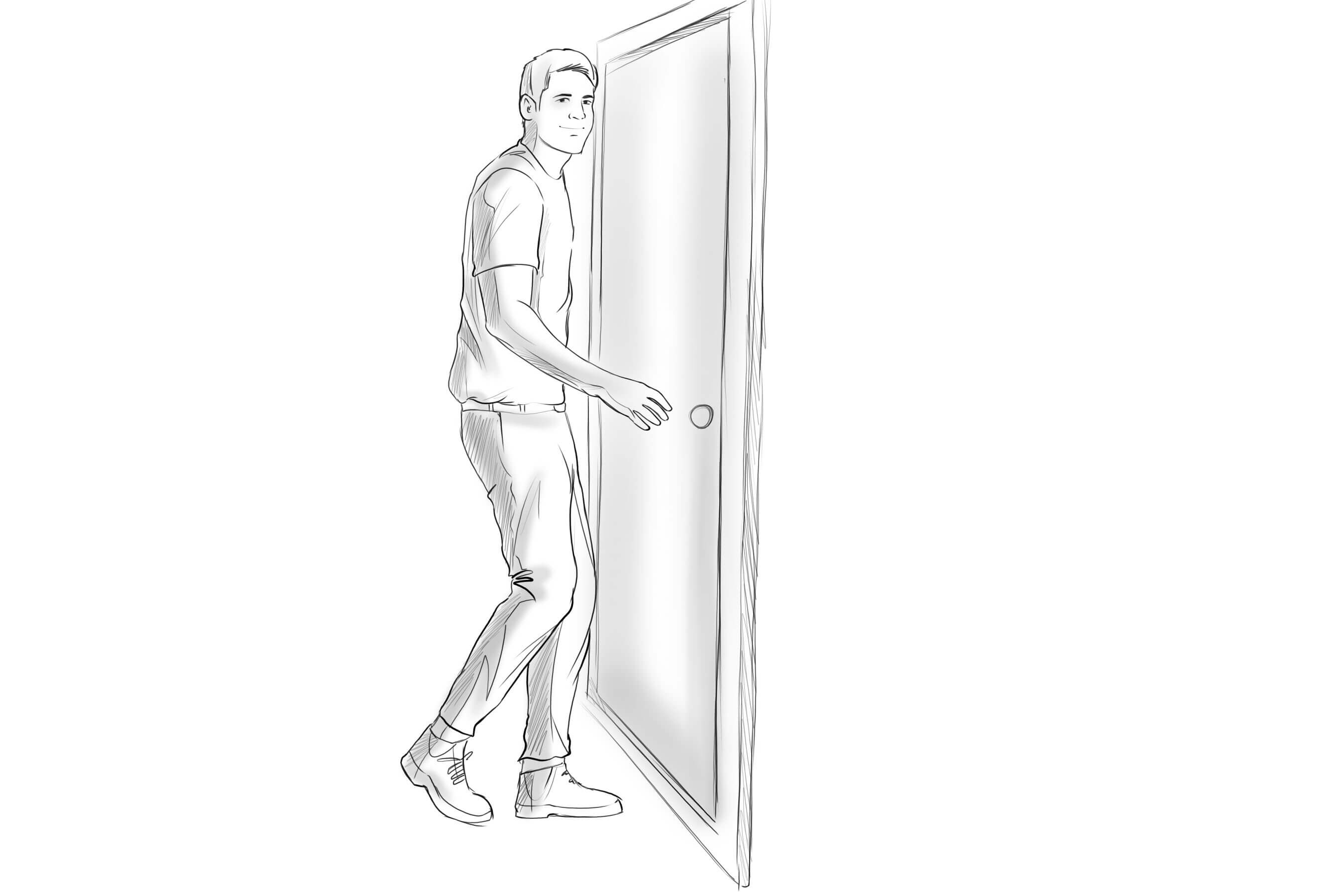 PERSON TAKING A STEP FORWARD OR THROUGH A DOOR